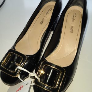 """Clarks"" Gold Bucklet Black Heels"