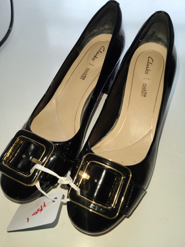 """Clarks"" Gold Bucklet Black Heels"