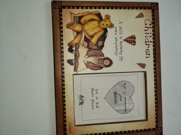 """""""Bear & Raggedy Ann"""" Pic Frame"""
