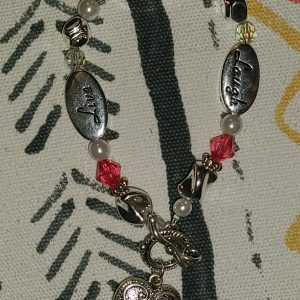 Pearl, pink beads with silver charms